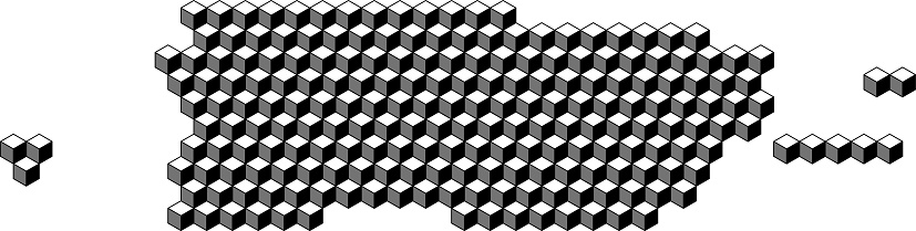 Puerto Rico map from 3D black cubes isometric abstract concept, square pattern, angular geometric shape. Vector illustration.