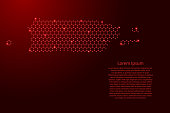 Puerto Rico map from futuristic hexagonal shapes, lines, points red and glowing stars in nodes, form of honeycomb or molecular structure for banner, poster, greeting card. Vector illustration.