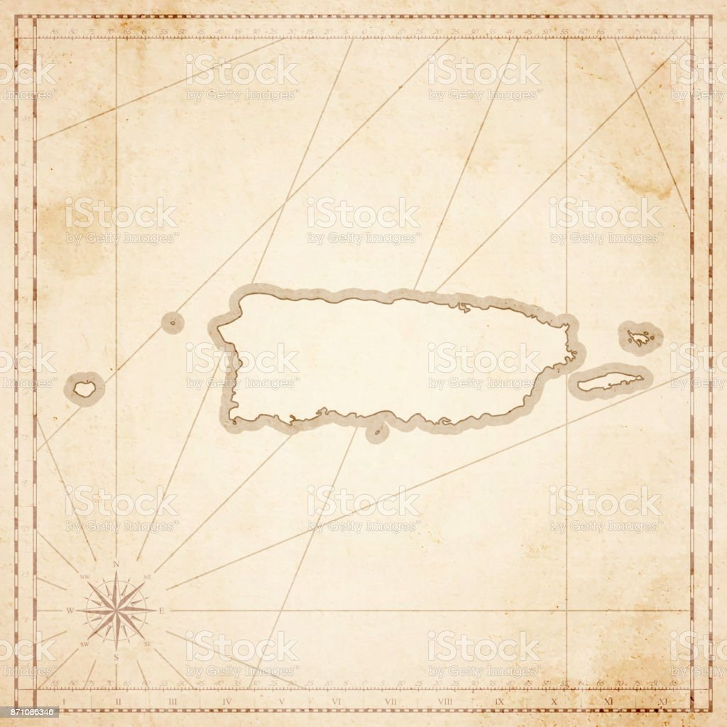 Puerto Rico map in retro vintage style - old textured paper vector art illustration