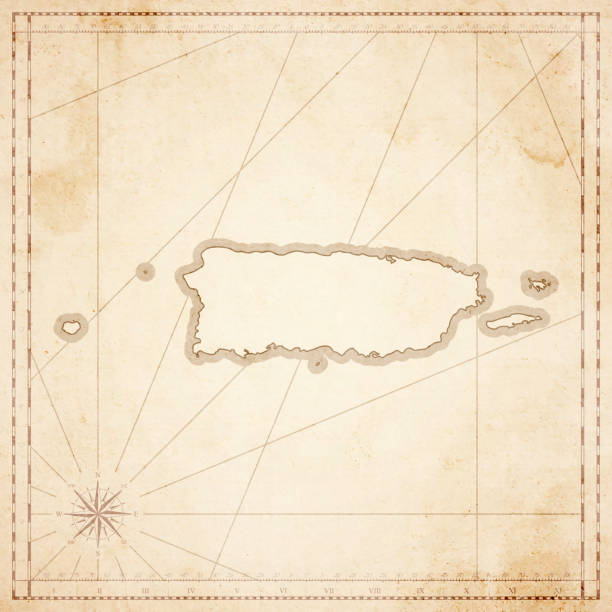 puerto rico map in retro vintage style - old textured paper - vintage maps stock illustrations, clip art, cartoons, & icons