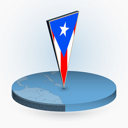 Puerto Rico map in round isometric style with triangular 3D flag of Puerto Rico