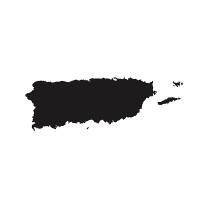 Puerto Rico map Silhouette glyph country American map illustration vector America isolated on white