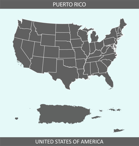 Puerto Rico map USA The map is accurately prepared by a map expert. florida us state stock illustrations