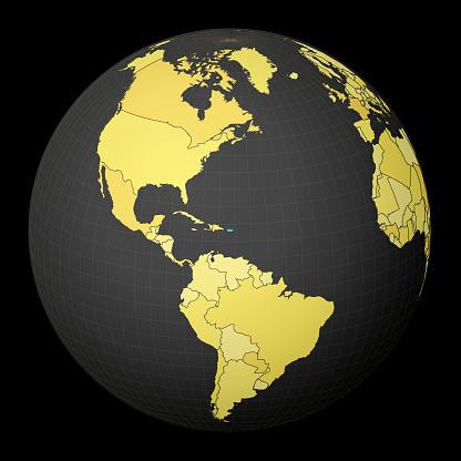 Puerto Rico on dark globe with yellow world map.