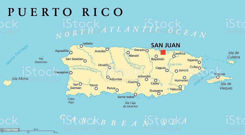 Puerto Rico politische Karte – Vektorgrafik