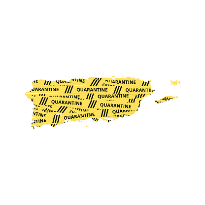 Puerto Rico Quarantine Yellow Tape country of America, American map illustration, vector isolated on white background