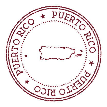 Puerto Rico round rubber stamp with country map.