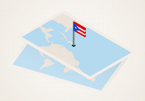 Puerto Rico selected on map with isometric flag of Puerto Rico.