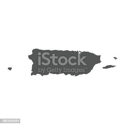 Puerto Rico vector map. Black icon on white background.