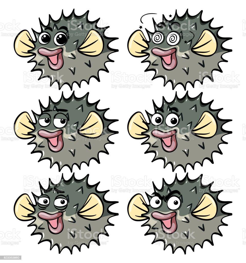 Ilustración de Pez Globo Con Diferentes Emociones Faciales y más ...