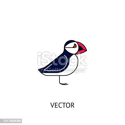 Puffin bird icon. Vector logo isolated on white