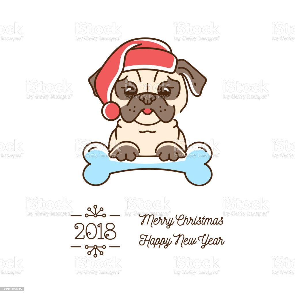 pug christmas year of the dog 2018 cute cartoon pug in the new year