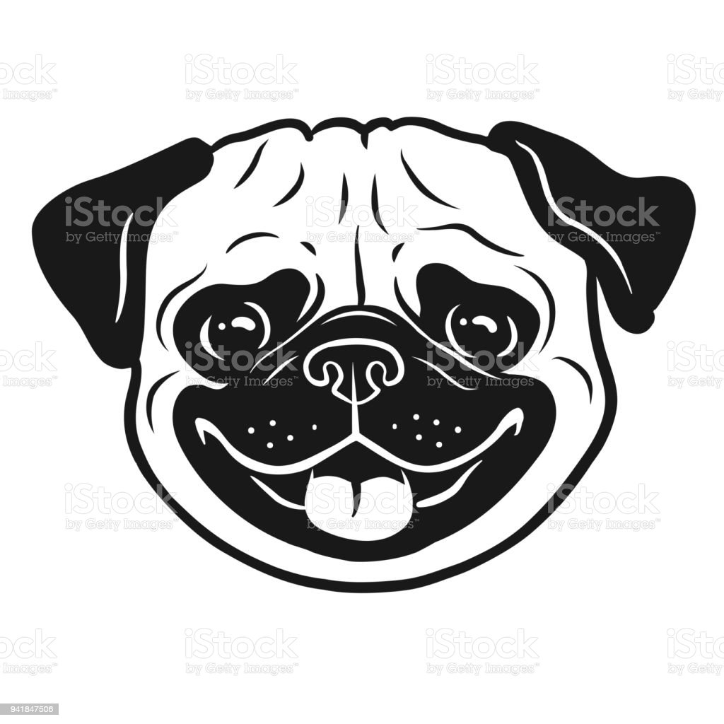 Pug Dog Black And White Hand Drawn Cartoon Portrait Funny ...