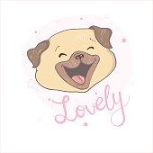 Pug dog cartoon illustration. Cute dog, animal themed design element isolated on white.