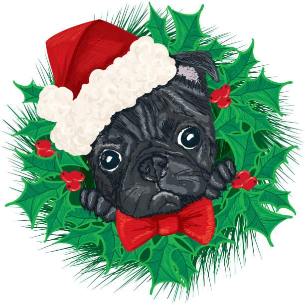 Pug Dog Face with Santa Hat and Christmas Wreath vector art illustration