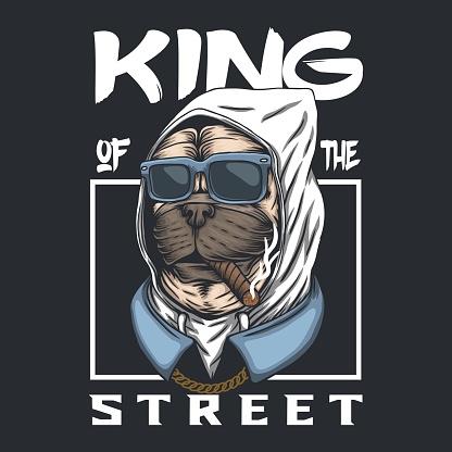 Pug dog king of the street vector illustration
