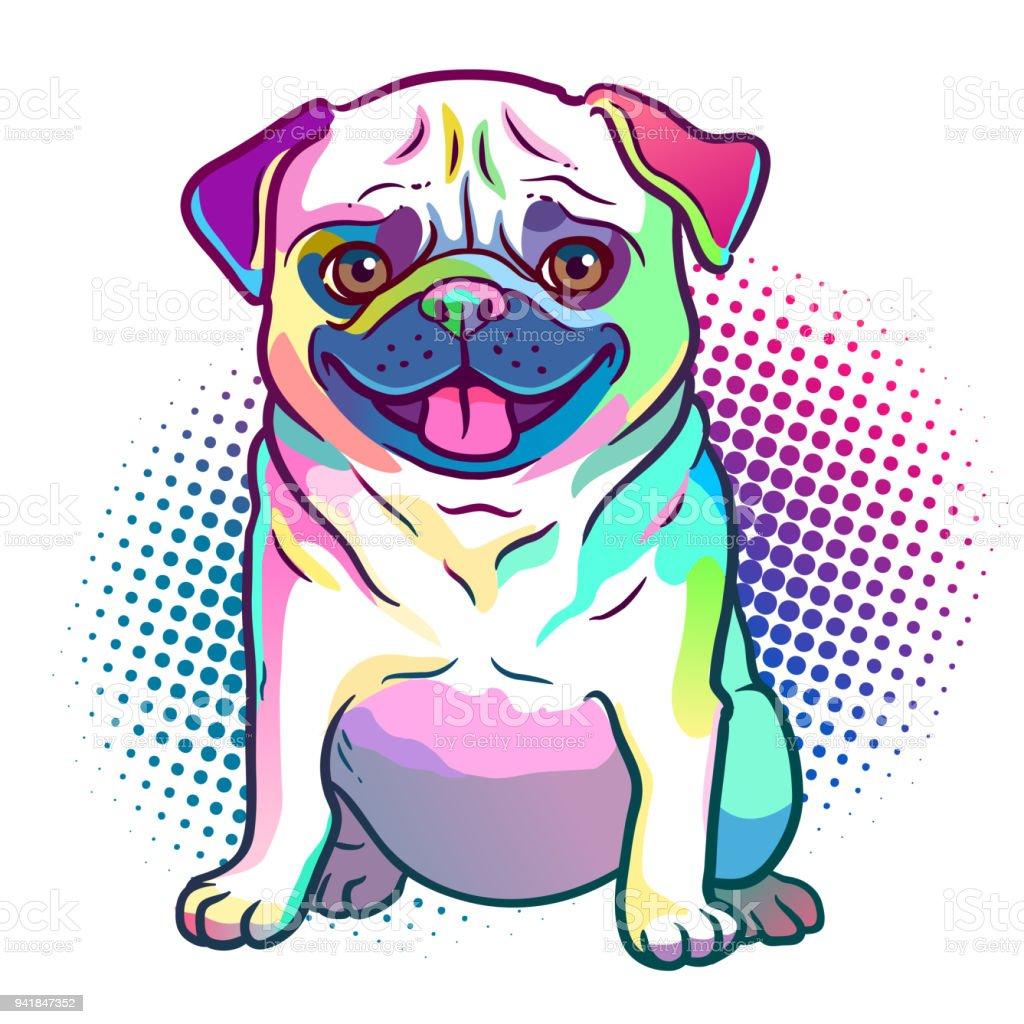 パグ犬ポップアート イラストで明るいネオンの虹色、ハーフトーン ドット背景は、白で隔離。犬、ペット、動物愛好家テーマ デザイン要素。 ベクターアートイラスト