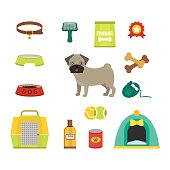 Pug dog symbols vector illustration
