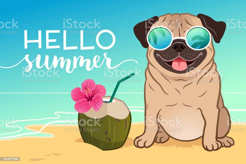 royalty free summer dog clip art vector images illustrations istock rh istockphoto com I Love Summer Clip Art August Summer Clip Art