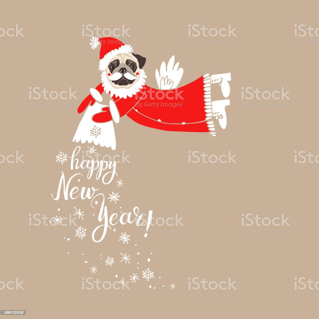 fce290016c0 Pug in Santa Claus costume with the wish of a happy new year. Vector  illustration