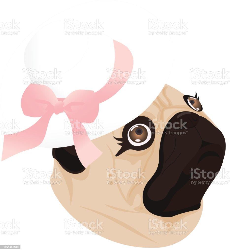 pug lady dog ribbon vector art illustration