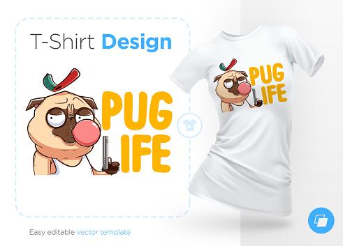 Pug life. Print on T-shirts, sweatshirts and souvenirs. Brutal pug gangster with gun