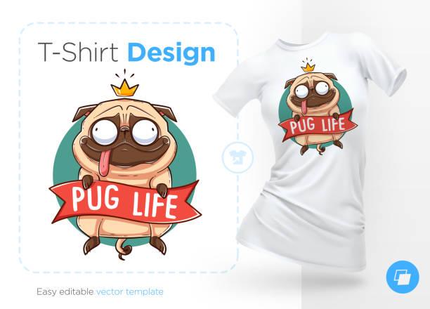 mops leben. bedrucken von t-shirts, sweatshirts und souvenirs. lustige mops mit goldkrone - swag stock-grafiken, -clipart, -cartoons und -symbole