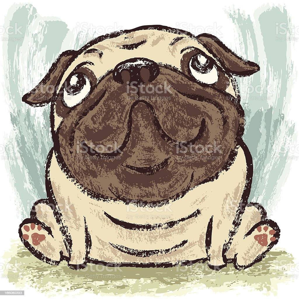 Pug look up at the sky royalty-free pug look up at the sky stock vector art & more images of animal