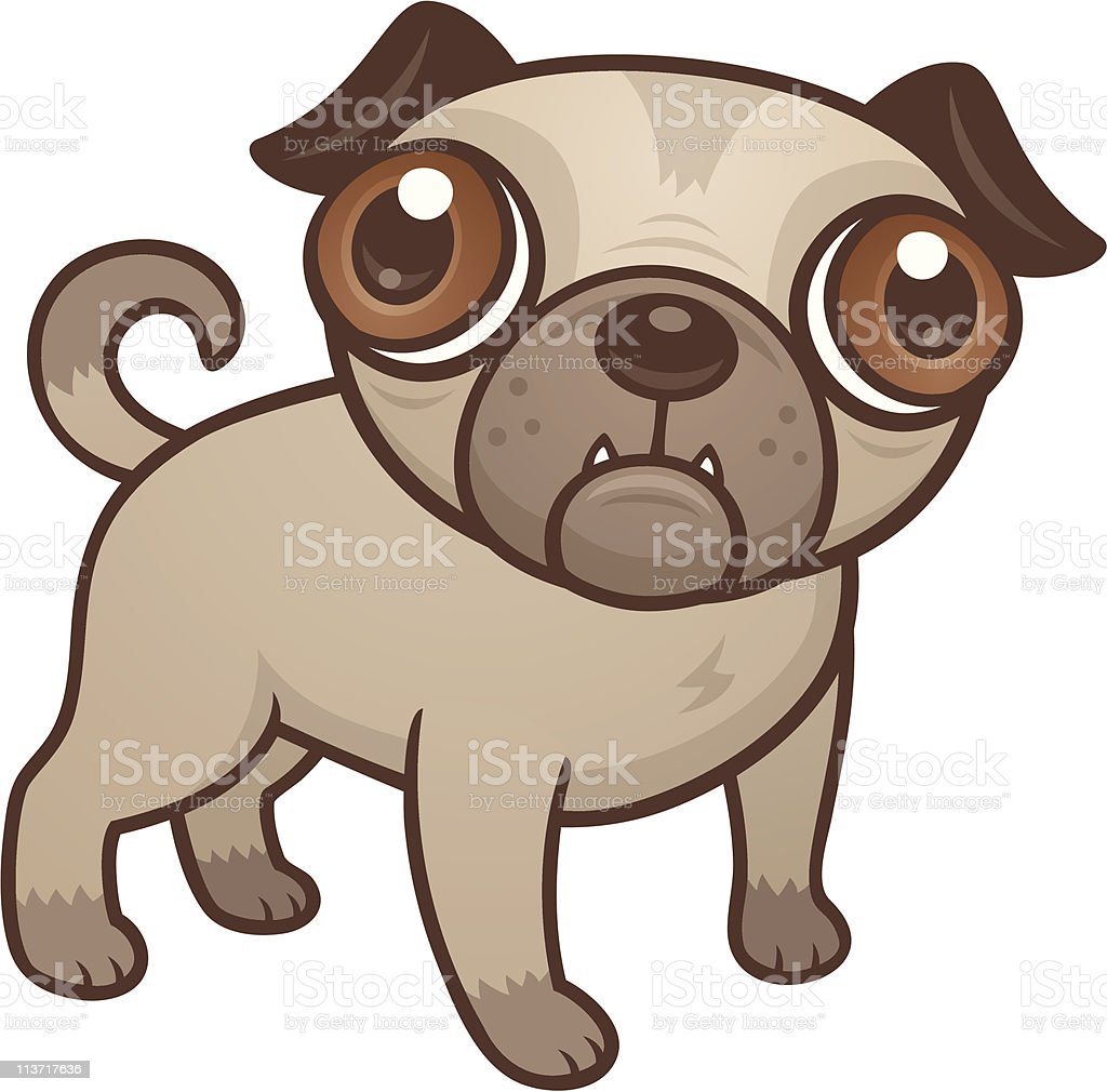 Pug Puppy Cartoon vector art illustration