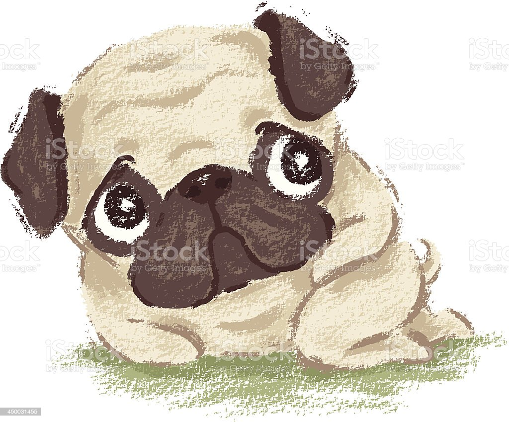 Pug shy royalty-free stock vector art