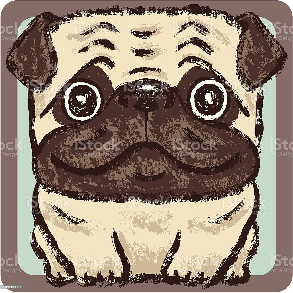 Pug square royalty-free stock vector art