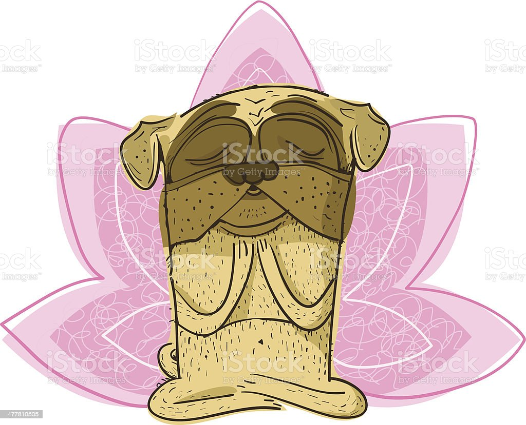 Pug with Lotus Symbol royalty-free stock vector art