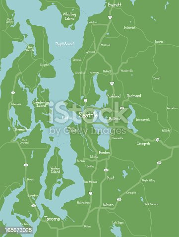A map of the Puget Sound region, including Seattle, with major roads and hand-drawn text.