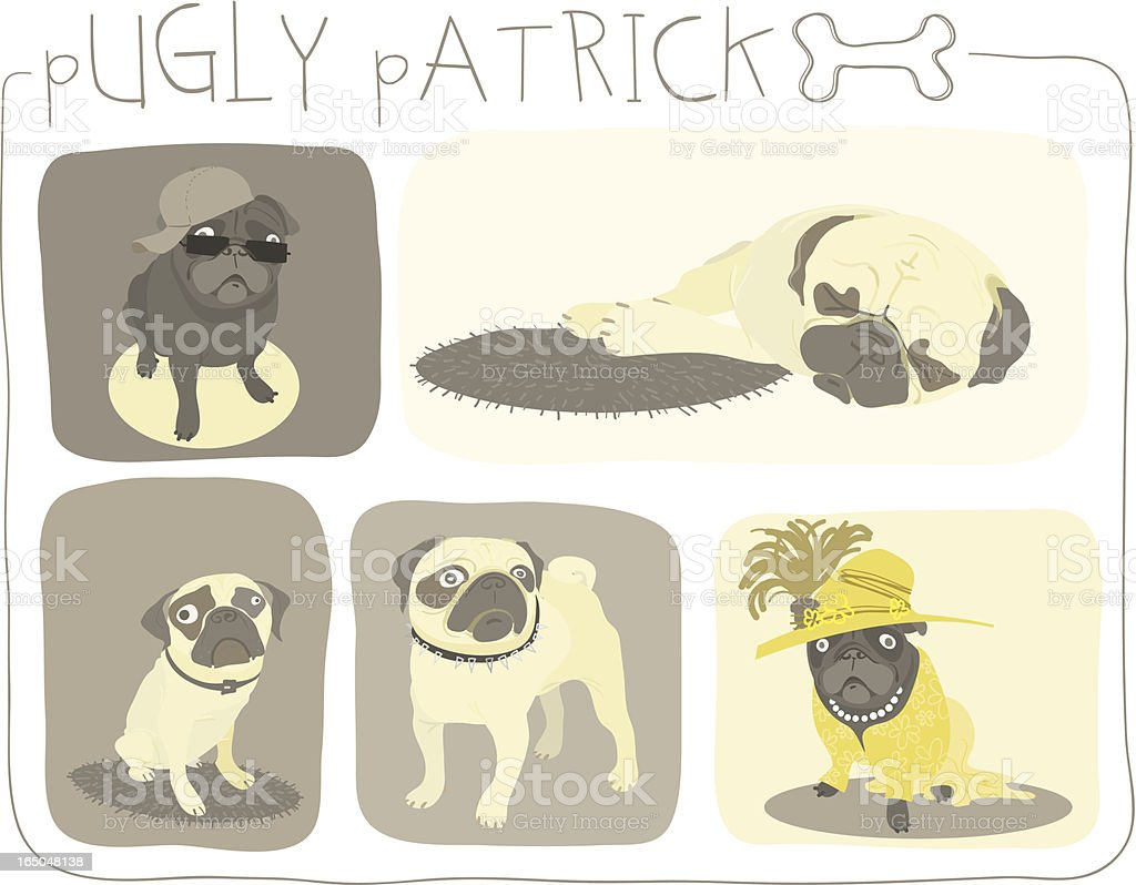 Pugly Patrick Collection royalty-free stock vector art