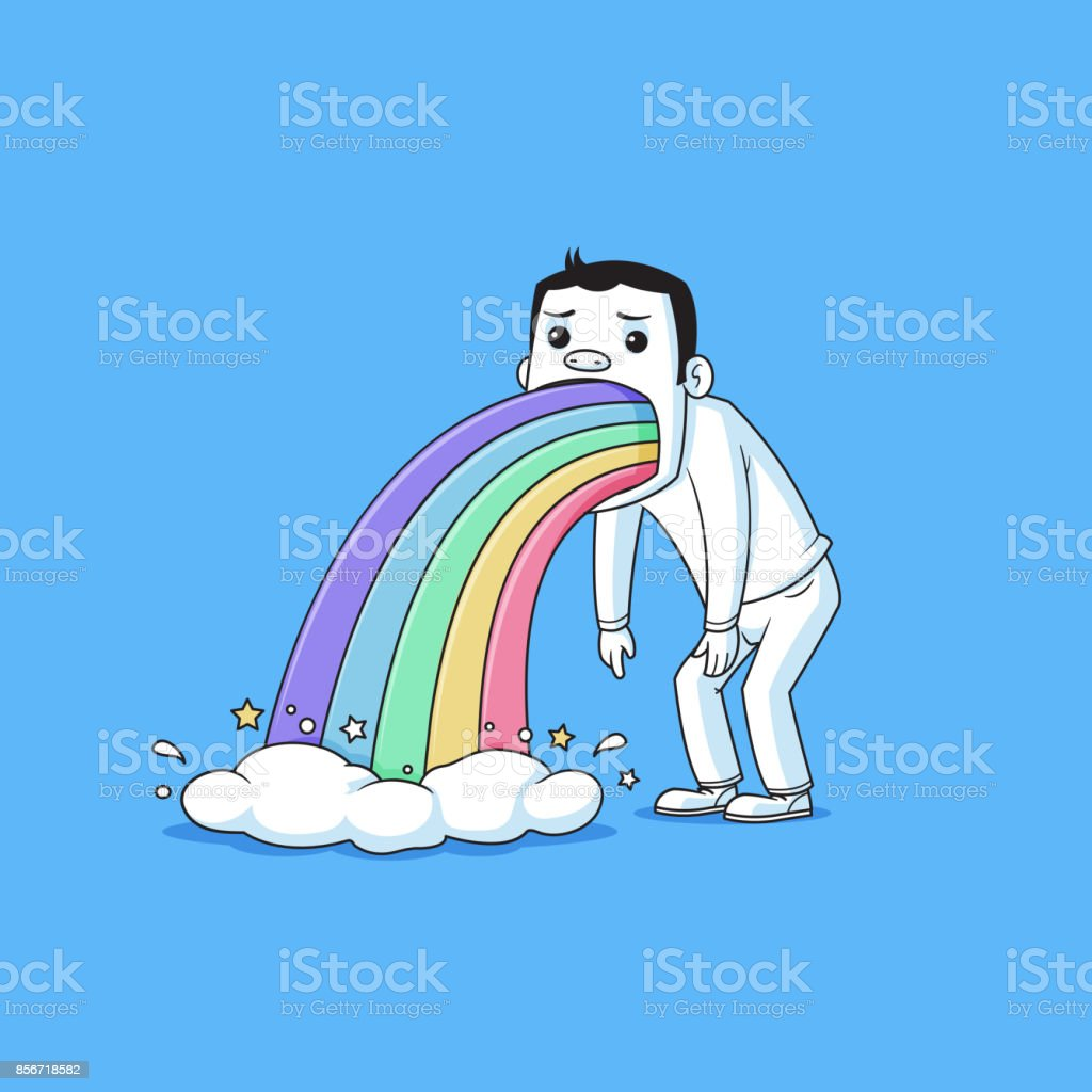 Kotzen Regenbogen – Vektorgrafik