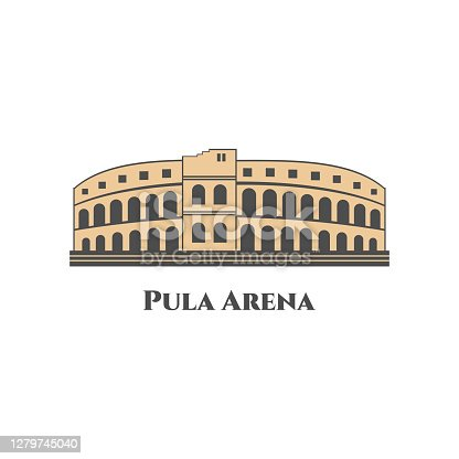 Pula Arena in Croatia. World countries cities vacation travel sightseeing collection. The most popular tour and activities. Flat cartoon style historic sight showplace. Vector illustration