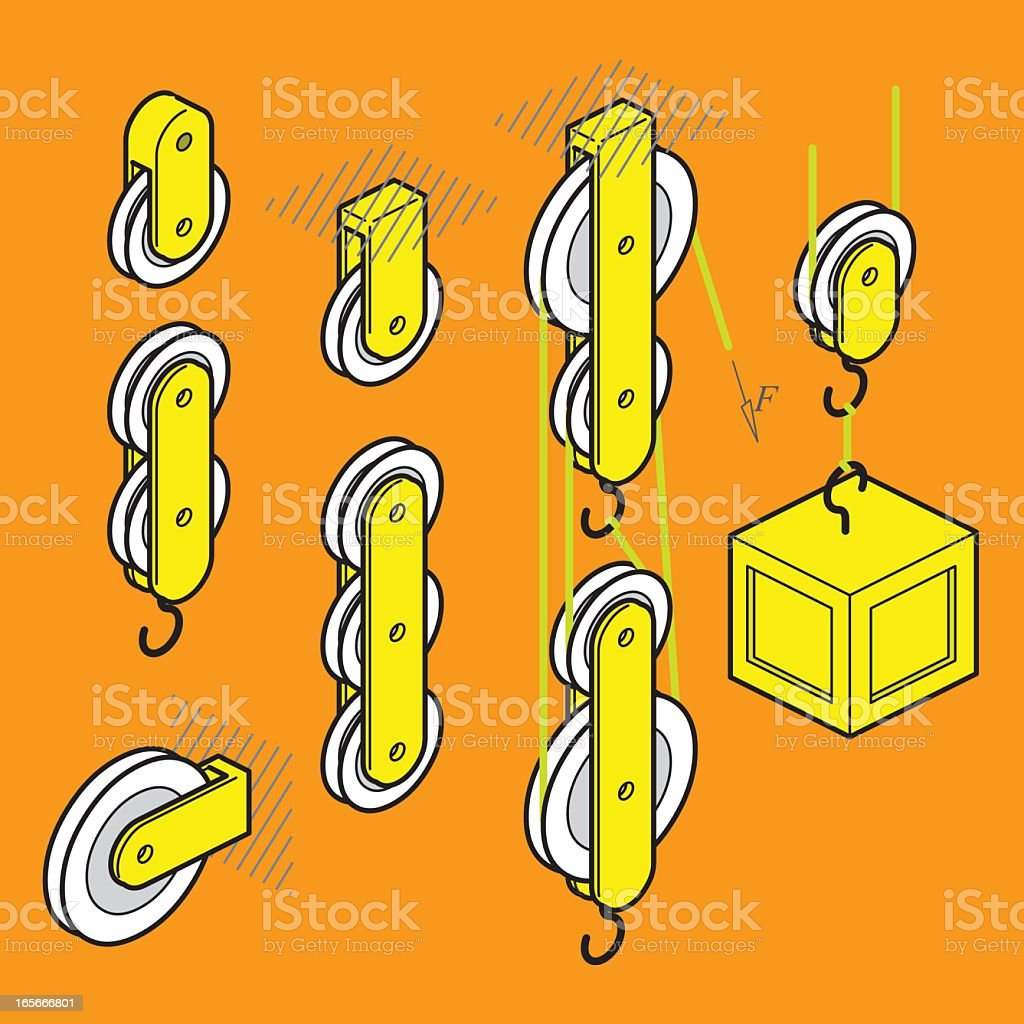 pulley set royalty-free stock vector art