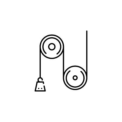 도르래 무게 아이콘입니다 모바일 개념 및 웹 애플 리 케이 션 아이콘에 대 한 물리학 과학의 요소입니다