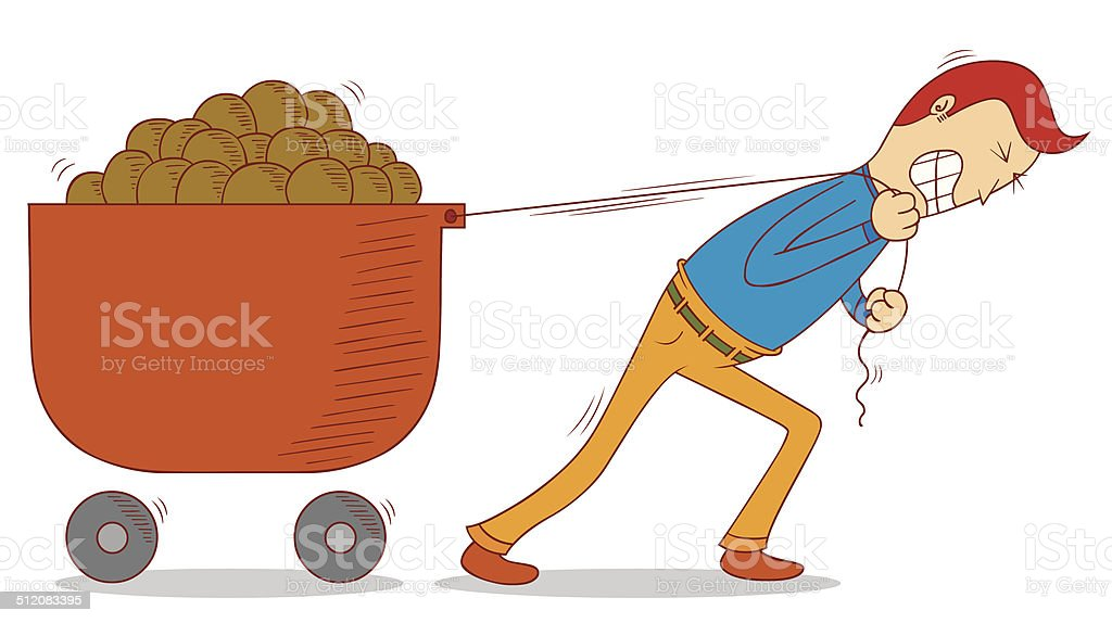 pulling a cart vector art illustration