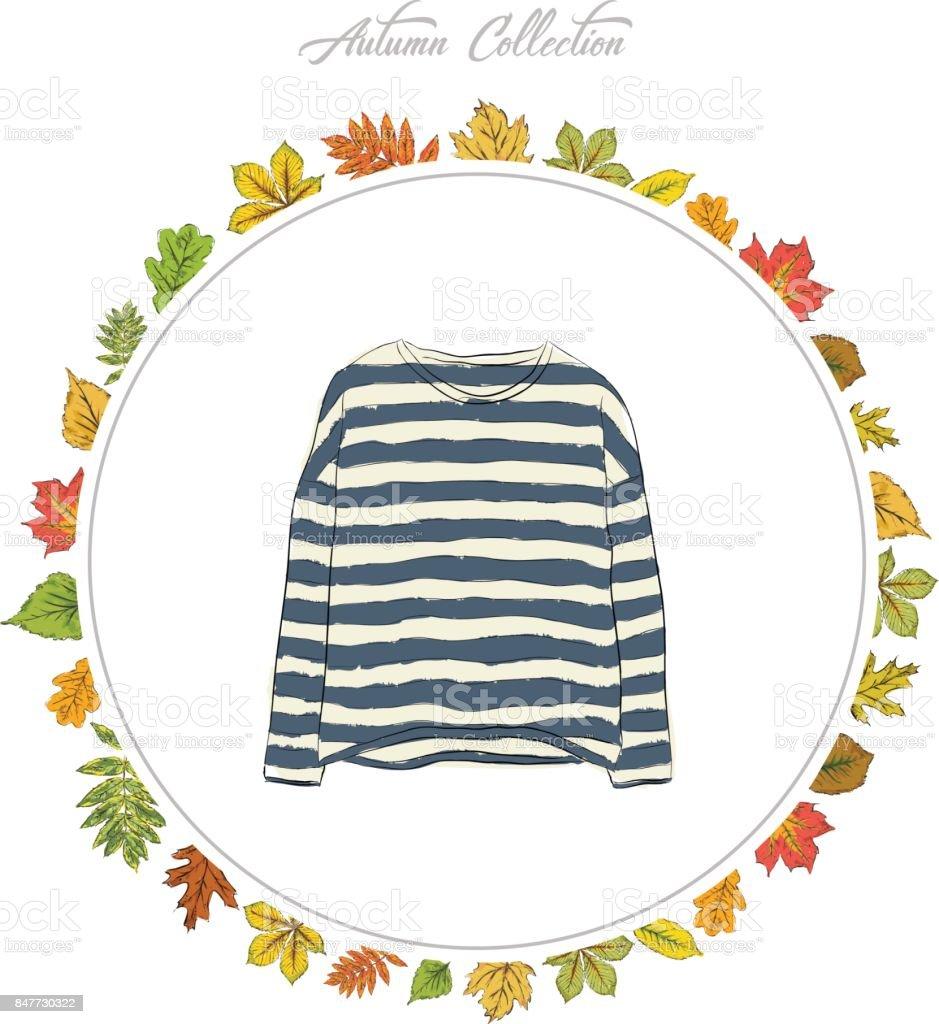 Pullover Hand Kleidung Zu Ziehen Herbstkollektion Rahmen Der Blätter ...