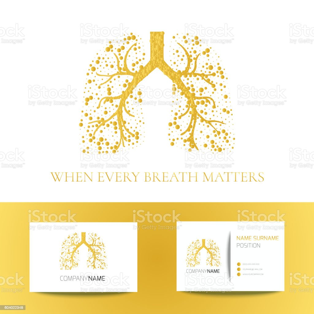 Pulmonary clinic business card vector art illustration