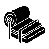 Pulp and paper industry glyph icon. Canvas production. Blank sheet on press. Conveyor, facility machinery. Page, fibre. Papermaking. Silhouette symbol. Negative space. Vector isolated illustration