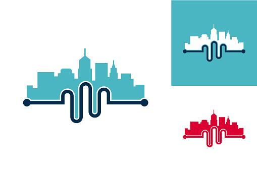 Pulse City Logo Template Design Vector, Emblem, Design Concept, Creative Symbol, Icon
