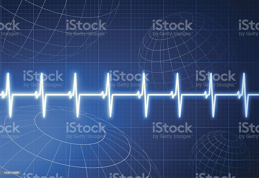 Pulse heart rate with wire frame globes internet background royalty-free stock vector art