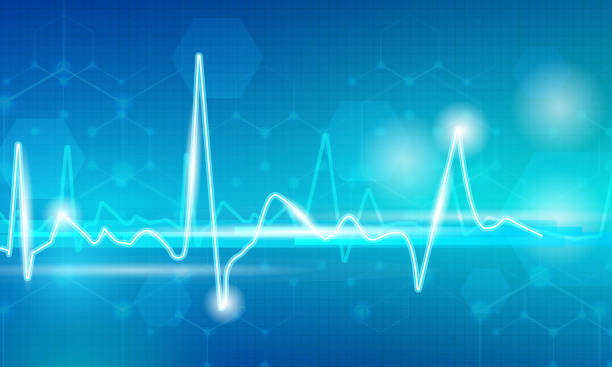Pulse line on blue Pulse line with lighting dots on abstract blue background pulse trace stock illustrations