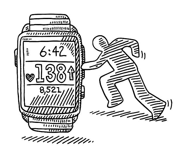 Pulse Meter Smart Watch For Running Drawing Hand-drawn vector drawing of a Pulse Meter Smart Watch For Running. Black-and-White sketch on a transparent background (.eps-file). Included files are EPS (v10) and Hi-Res JPG. running stock illustrations