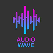 Pulse music logo. Audio streaming service. Audio colorful wave logo. Vector equalizer element. EPS 10