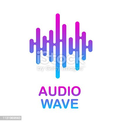 Pulse music player. Audio colorful wave logo. Vector equalizer element