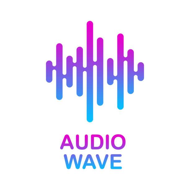 Pulse music player. Audio colorful wave logo. Vector equalizer element vector art illustration