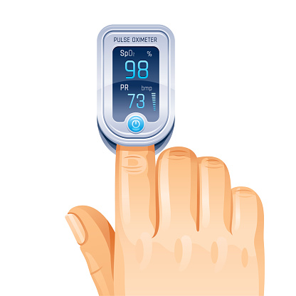 Pulse Oximeter, finger medical device icon. Corona virus Covid protect equipment. Medical health icon for blood saturation. Coronavirus prevent element. Vector illustration isolated white background